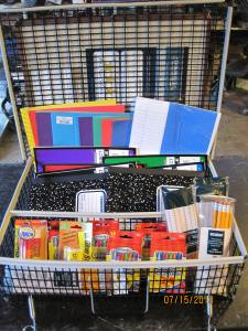 Back to School Show  groom box packed  with school supplies