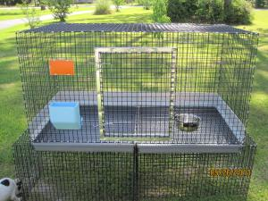 one hole 1 x 1 vinyl wire 14 gauge wire plastic dura trays urine guards, stainless steel water bowl and 5 1/2 inch feeder, name plate, and metal door frame Custom Order price varies depending on accessories from $105-$200+