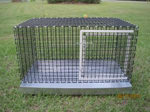 One hole 18 W x 30 L x 15 H  metal pan 1 x 1 vinyl coated wire Large access door as shown $80.00